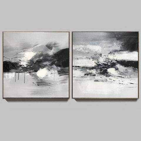 Image of Big black and white paintings | Large white wall art F91-7