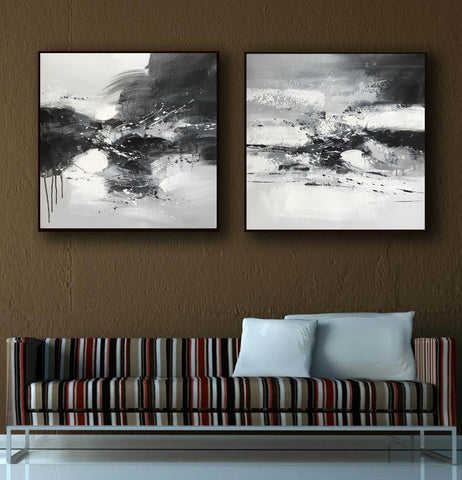 Image of Big black and white paintings | Large white wall art F91-8