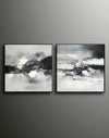 Big black and white paintings | Large white wall art F91-9