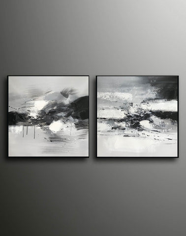 Image of Big black and white paintings | Large white wall art F91-9
