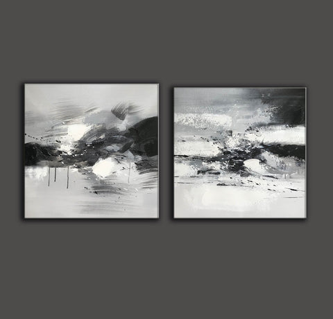 Image of Big black and white paintings | Large white wall art F91-10