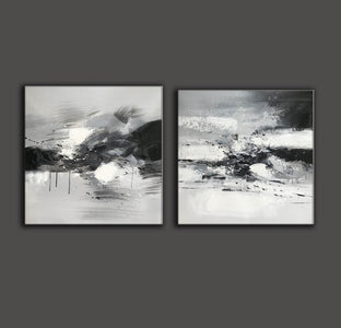 Big black and white paintings | Large white wall art F91-10