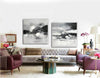 Big black and white paintings | Large white wall art F91-1