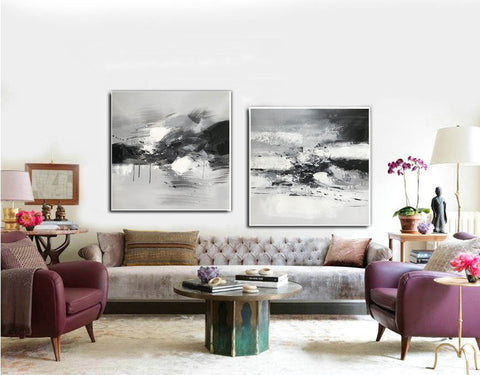 Image of Big black and white paintings | Large white wall art F91-1