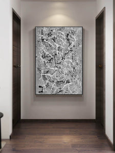 Black and white wall art for bedroom | Black and white contemporary paintings F170-1