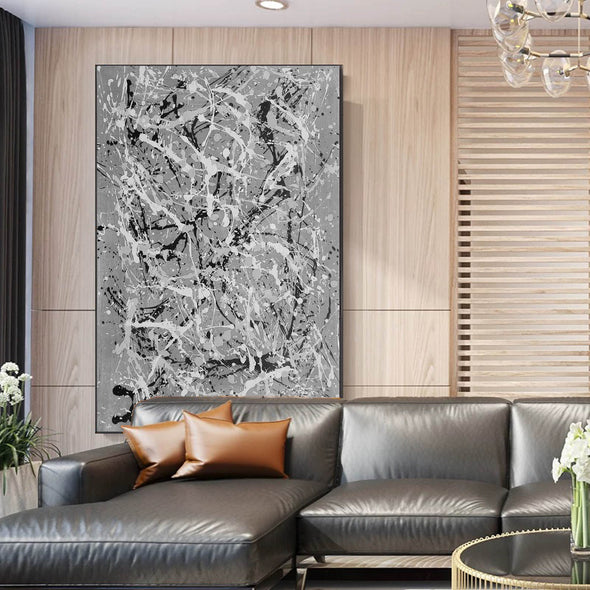 Black and white wall art for bedroom | Black and white contemporary paintings F170-9