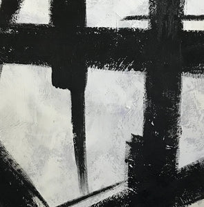 Black white abstract | Black & white paintings contemporary F94-2