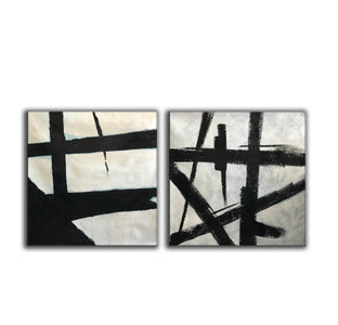 Black white abstract | Black & white paintings contemporary F94-3
