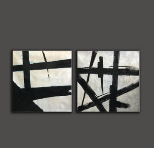 Black white abstract | Black & white paintings contemporary F94-4