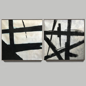 Black white abstract | Black & white paintings contemporary F94-6