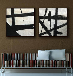 Black white abstract | Black & white paintings contemporary F94-7