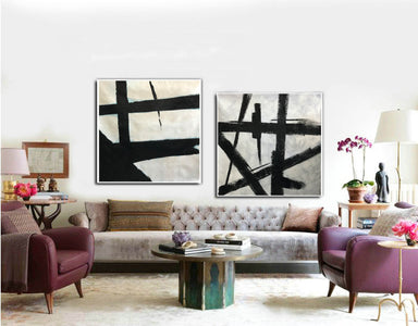 Black white abstract | Black & white paintings contemporary F94-8
