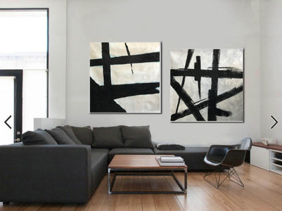 Black white abstract | Black & white paintings contemporary F94-9