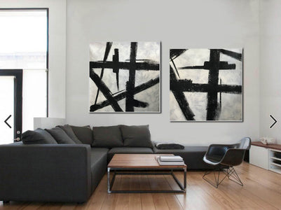 Art black and white painting | White on black painting F100-10