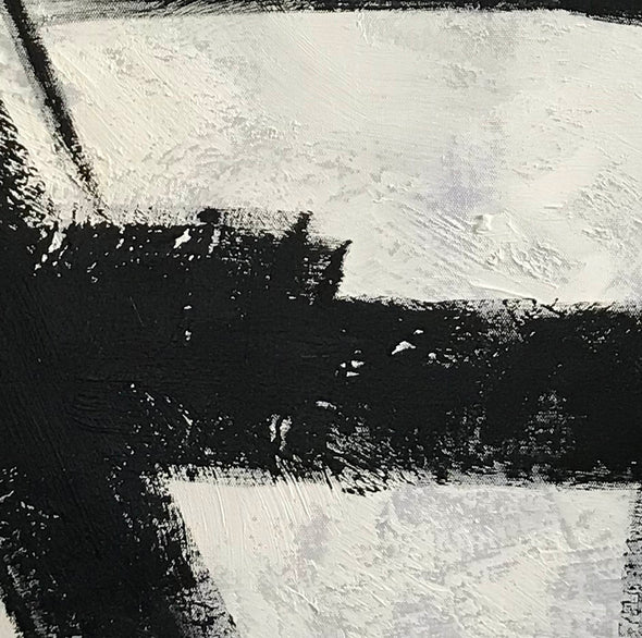 Art black and white painting | White on black painting F100-1