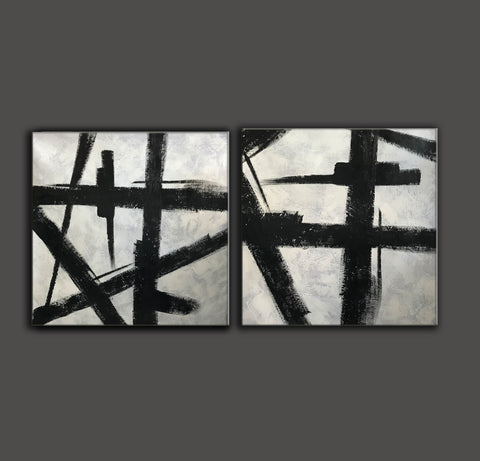Image of Art black and white painting | White on black painting F100-5