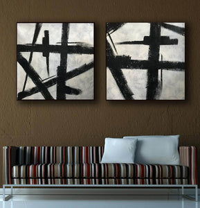Art black and white painting | White on black painting F100-7