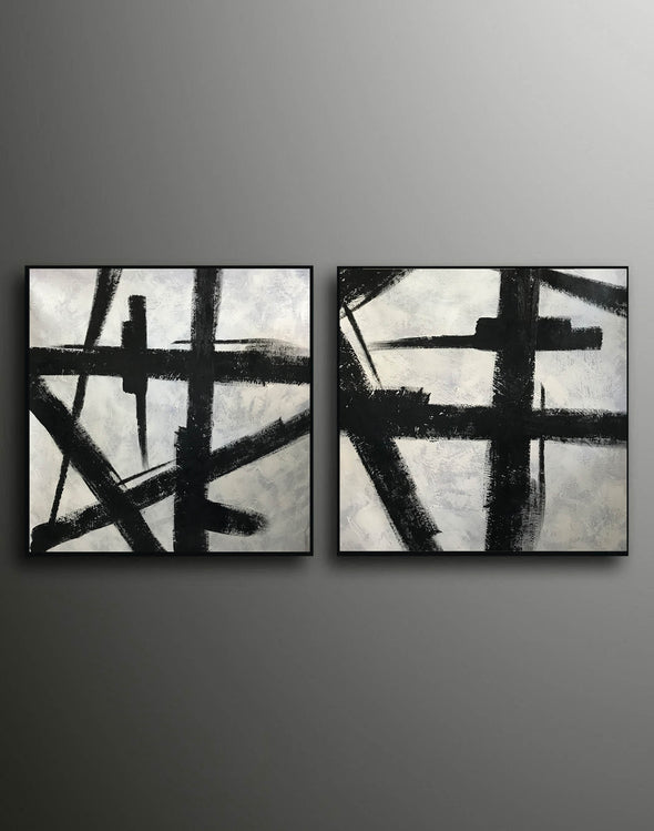 Art black and white painting | White on black painting F100-8