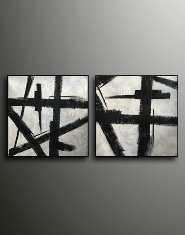 Image of Art black and white painting | White on black painting F100-8