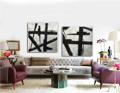Image of Art black and white painting | White on black painting F100-9