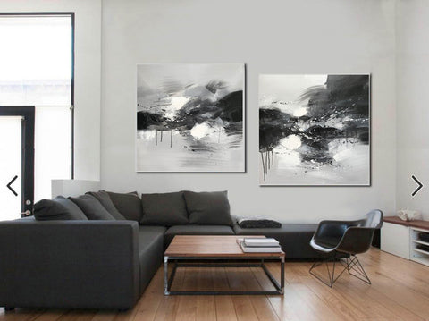 Image of Black grey and white paintings | Black white oil painting F92-2