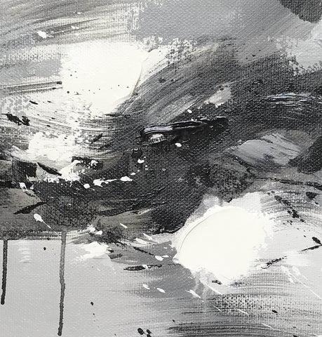 Image of Black grey and white paintings | Black white oil painting F92-4