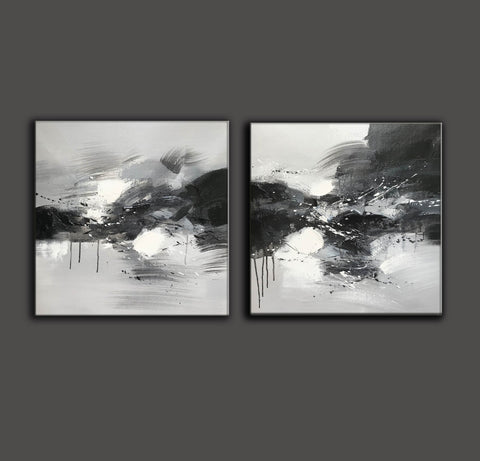 Image of Black grey and white paintings | Black white oil painting F92-5