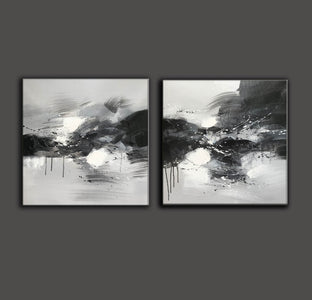 Black grey and white paintings | Black white oil painting F92-5