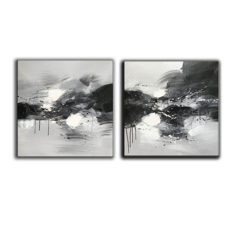 Image of Black grey and white paintings | Black white oil painting F92-6