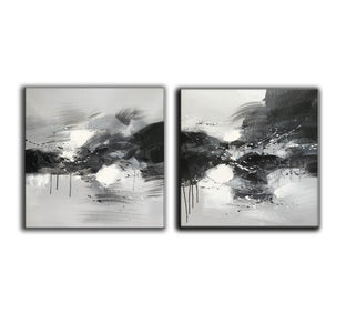 Black grey and white paintings | Black white oil painting F92-6