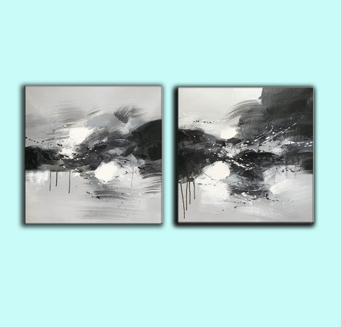 Image of Black grey and white paintings | Black white oil painting F92-7
