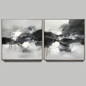 Black grey and white paintings | Black white oil painting F92-8