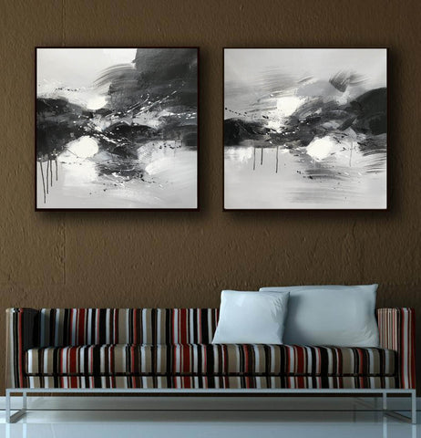 Image of Black grey and white paintings | Black white oil painting F92-9