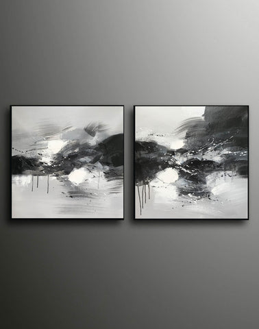 Image of Black grey and white paintings | Black white oil painting F92-10