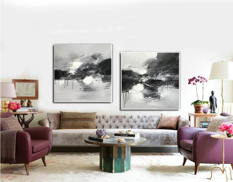 Image of Black grey and white paintings | Black white oil painting F92-1
