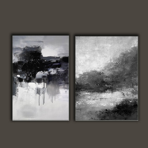 Image of Black white wall art | Black and white canvas art F82-10