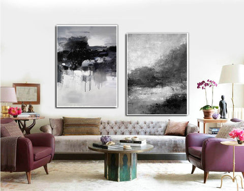 Image of Black white wall art | Black and white canvas art F82-1