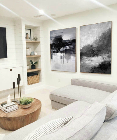 Image of Black white wall art | Black and white canvas art F82-5