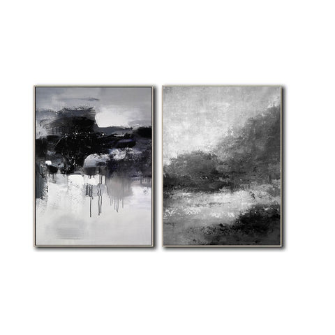 Image of Black white wall art | Black and white canvas art F82-7