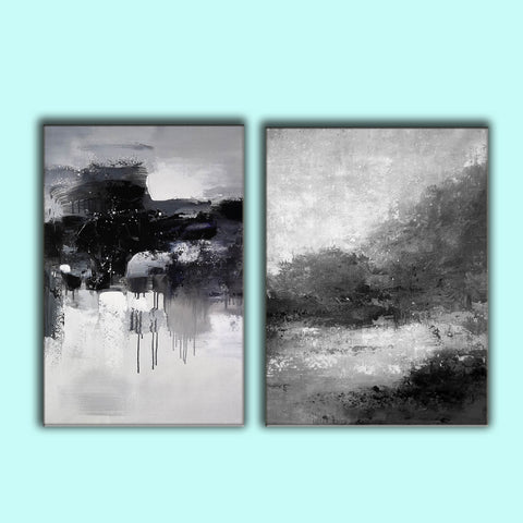 Image of Black white wall art | Black and white canvas art F82-8