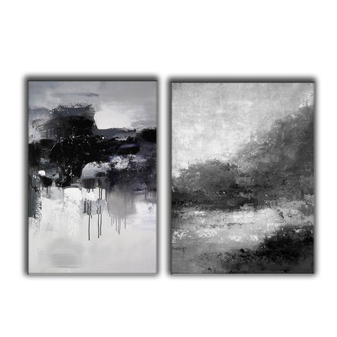 Image of Black white wall art | Black and white canvas art F82-9
