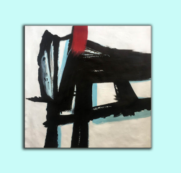 Contemporary canvas painting | Long abstract painting F182-7