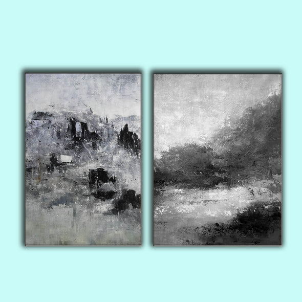 Oversized black and white canvas art F83-10