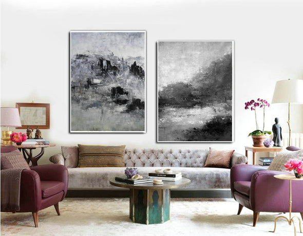 Oversized black and white canvas art F83-3