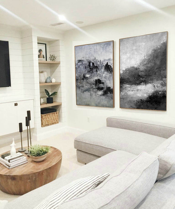 Oversized black and white canvas art F83-4