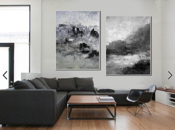 Oversized black and white canvas art F83-5