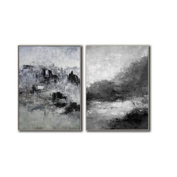Oversized black and white canvas art F83-7