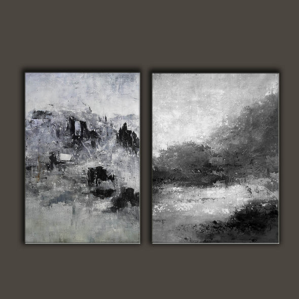 Oversized black and white canvas art F83-8