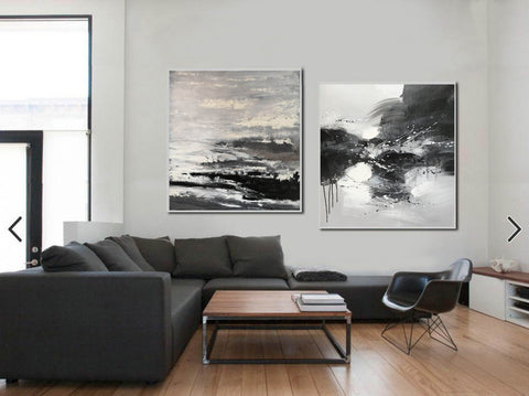 Image of Black and white modern art paintings | White artwork F85-10