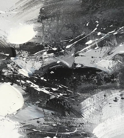 Image of Black and white modern art paintings | White artwork F85-2
